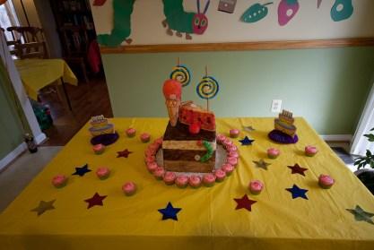 Hungry Caterpillar Cake - Cake Table Setup