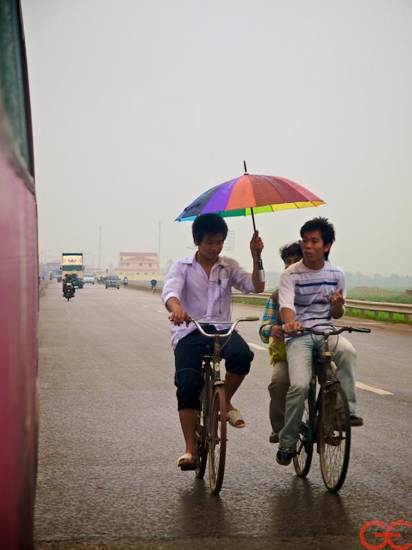 Kids on bicycles in Vietnam