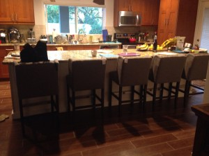 My propensity for organization saturation is not apparent in this photo as the counters need to be cleared, but it shows off my favorite part of our home - the KITCHEN.