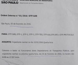DTP faz novo comunicado e funcionará em horário normal na quarta-feira (10)