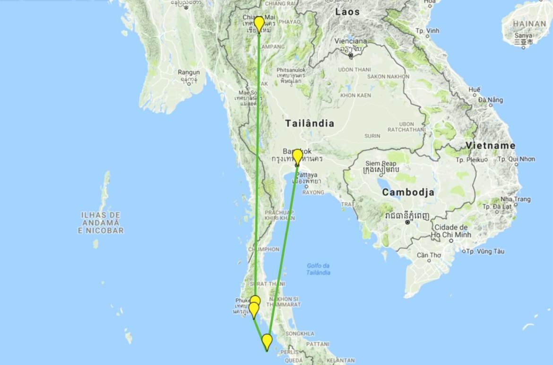 Roteiro de viagem pela Tailândia - Mapa