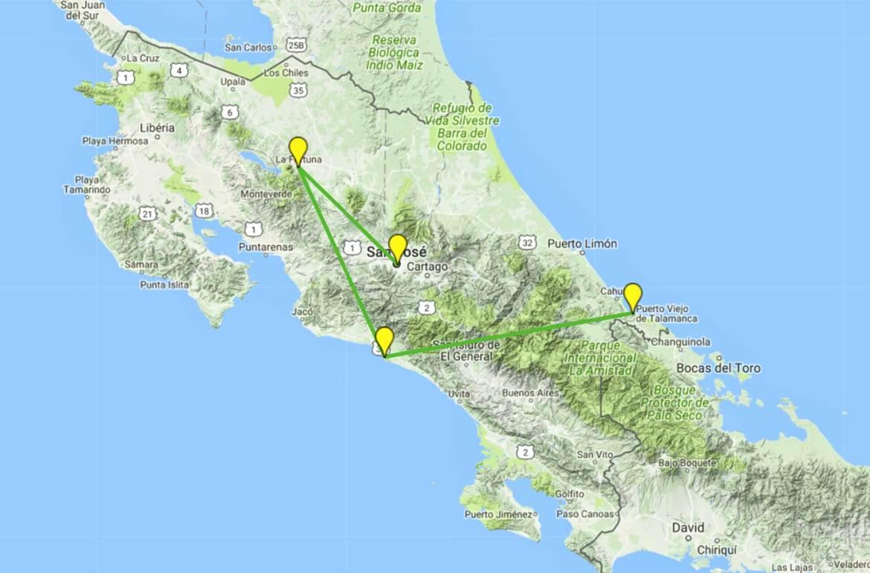 Roteiro de viagem pela Costa Rica - Mapa