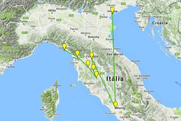 Roteiro de viagem pela Itália - Mapa