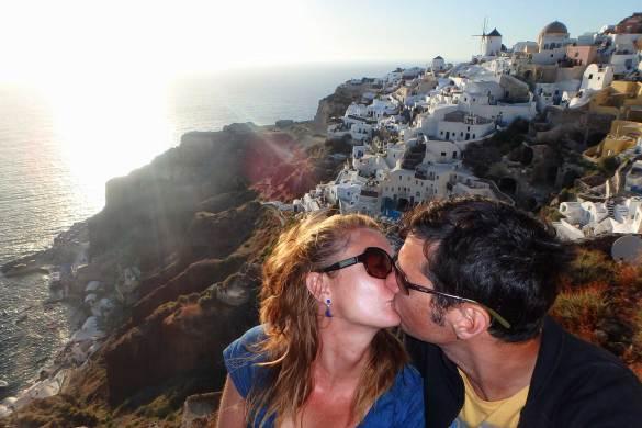 Brasileiro viaja pouco - Pôr do sol em Santorini, na Grécia