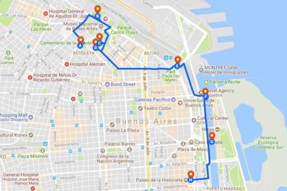 Roteiro em Buenos Aires - Mapa