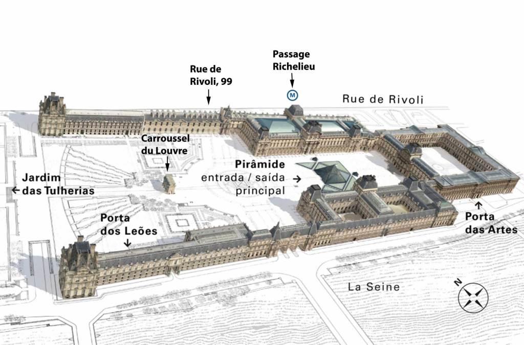 O que ver no Louvre - Mapa das entradas
