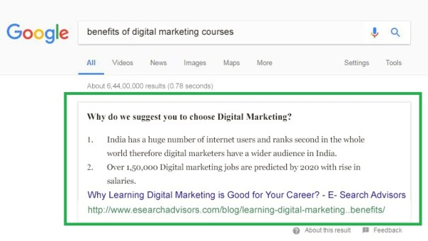 Featured Snippets in Google Results