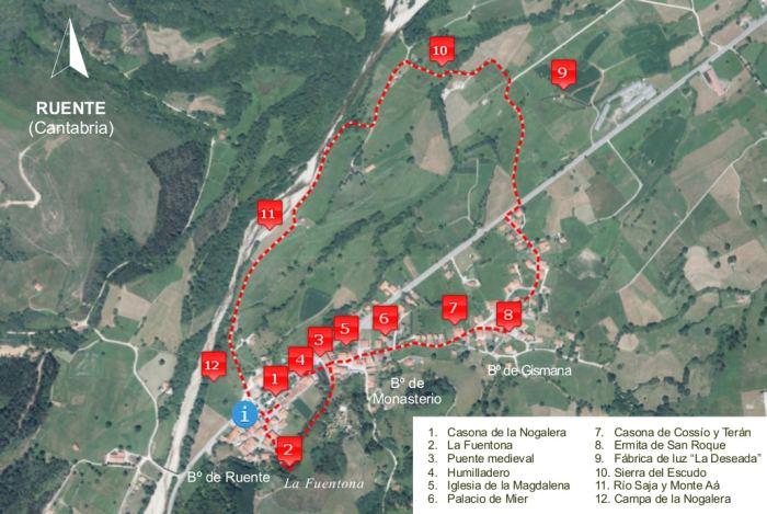 Mapa visita autoguiada por RuenteOrtofoto PNOA (IGN)