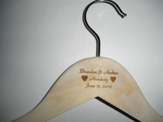wood clothes hangers wedding hangers Wood Clothes Hanger Personalized Custom Engraved Anniversary Wedding