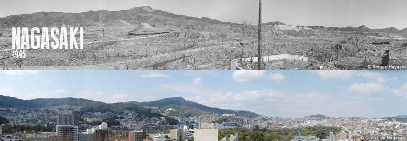 FOTOGRAFÍA HECHA  A 120 METROS AL ESTE DEL LUGAR DE IMPACTO, CERCA DEL ACTUAL MUSEO DE LA BOMBA ATÓMICA DE NAGASAKI Mediados de octubre de 1945. NAGASAKI HOY