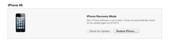 iPhone Restore Button