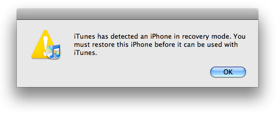 iTunes Recovery Prompt