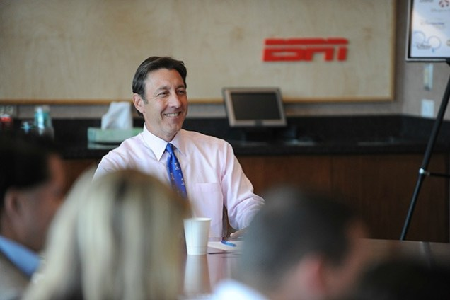 "ESPN Executive Chairman George Bodenheimer: ""I have been proud to represent the men and women of ESPN. Every day I was asked questions about the future, and my favorite answer was, 'ESPN has the best employees in the business. They know what the mission of the company is, and together we will figure it out'...I have great faith that it will always be true."" (Rich Arden/ESPN Images)"