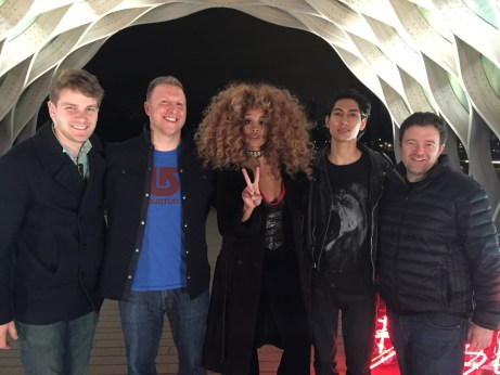 (L-R) Tom Hipp (production coordinator), Lucas Nickerson (art director), LION BABE's Jillian Hervey and Lucas Goodman and Jeremy Anderson (content producer). (ESPN/Lucas Nickerson)