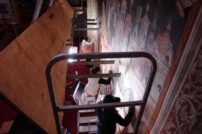 Lavori di restauro pitture murali Basilica di Santa croce a Firenze, cappella maggiore, pitture murali Agnolo Gaddi