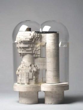 Walter Pichler, Compact City, 1963-64, gesso e vetro con applicazioni metalliche