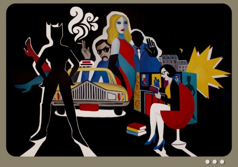 Marjane Satrapi, Ma Premiere nuit a Paris, 2011, acrilico su carta incollata su tela, 1705-x-2455-cm-67-1_8-x-96-5_8-in., © G. J. DE Noirmont, Parigi