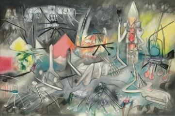 Sebastian Matta, Le Prophéteur, 1954, olio su tela, cm 200x298x3, Fondazione Echaurren Salaris, Roma