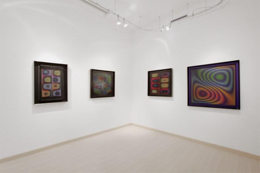 """Alberto Biasi, veduta della mostra """"Rilievi ottico-dinamici"""", Galleria Dep Art, Milano"""