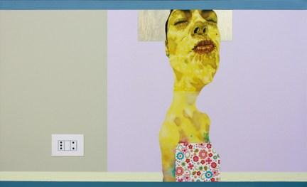 Carlo Alberto Rastelli, But all young lovers they look the same, 2012, olio, acrilico, foglia oro e inserto in carta su tela, 60x100cm