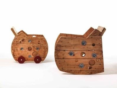 Sbobina|Design, Seduta Bocar e dondolo Bondolo, cm 76x65x76 e cm 85x69x90