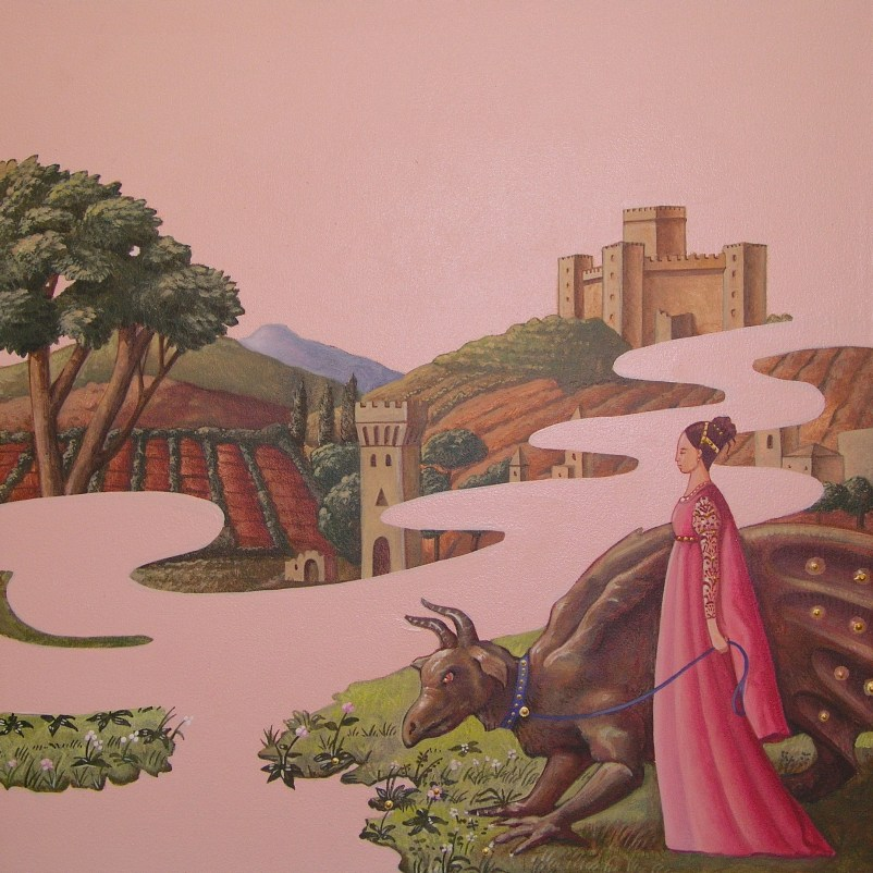 Vanni Cuoghi, Un inteso profumo di fiori di pesco, 2013, acrilico e olio su tela, cm 45x45