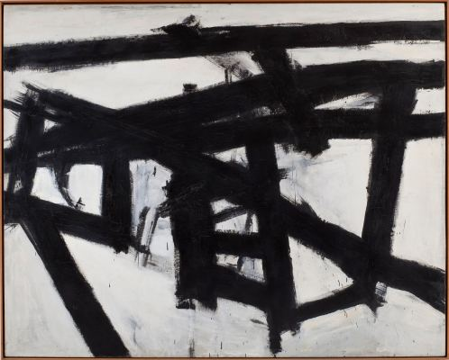Franz Kline, Mahoning, 1956, olio e collage di carta su tela, 204.2x255.3 cm, Whitney Museum of American Art, New York; purchase, with funds from the Friends of the Whitney Museum of American Art © 2013 The Franz Kline Estate / Artists Rights Society (ARS), New York Foto di Sheldan C. Collins