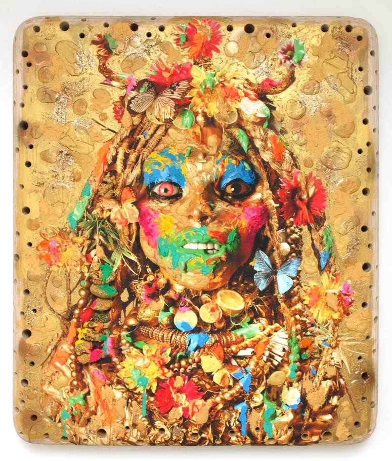 Ashley Bickerton - Gold Head I - 2012 - Oil acrylic coral anf found object on digital print on plywood 208.3 x 177.8 x 17.8