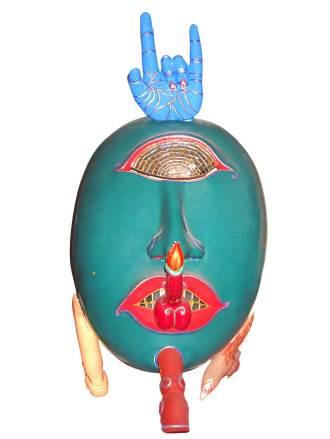 Luigi Ontani, Mirrorirony, 2001-2004, maschera di legno di pule dipinta, 95x 45x53 cm