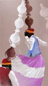 Aldo Mondino, La danse des jarres, 1997, olio su linoleum, 250x140 cm_