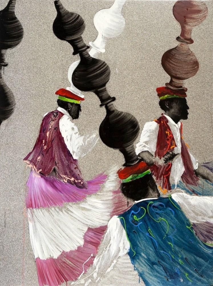 Aldo Mondino, La danse des jarres, 1997, olio su linoleum. ph. Laura Fantacuzzi