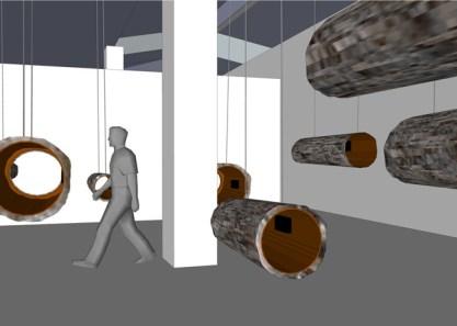 Concerto per natura morta, 2014 (rendering e work in progress), 13 tronchi, speakers, riproduttore audio 8 canali, amplificatore 8 canali, cavi audio, cavi d'acciaio, dimensioni ambientali, courtesy Studio La Città - Verona