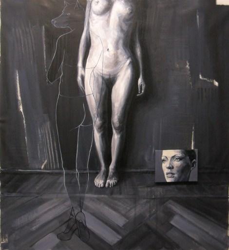 Constantin Migliorini, presenza/assenza 1, olio acrilico su tela, cm 141x130