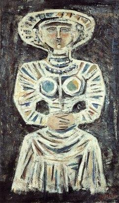 Massimo Campigli, Femme assise, 1961, olio su tela, Archives Campigli