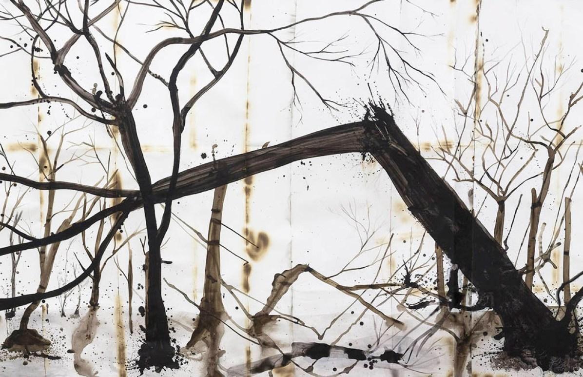 Denis Riva, Dopo l'incendio, 2014, acrilico, china e lievito madre su carta bruciata, 600x150 cm (particolare)
