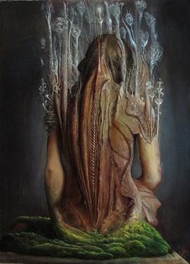 Agostino Arrivabene, Prefica mutante I-¦, 2014, olio su legno, 50x35 cm