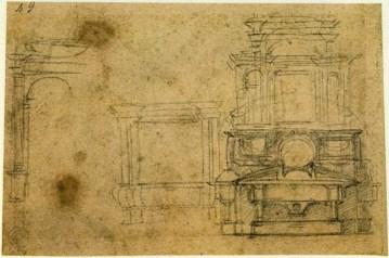 Michelangelo, Studi di monumenti tombali per la Sagrestia Nuova, 1520 ca., Matita nera su carta, mm 105x157, Fondazione Casa Buonarroti
