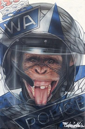 Federico Unia, L'abito non fa il monaco n.3 (Il poliziotto), 2013, tecnica mista, 30x20 cm