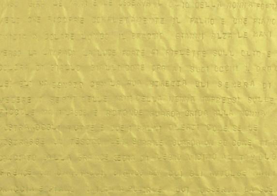 Gianni Moretti, Secondo esercizio di approssimazione al grande amore (dettaglio), 2014, caratteri impressi a secco su carta velina, quattro elementi di 50x35 cm l'uno, courtesy dell'artista