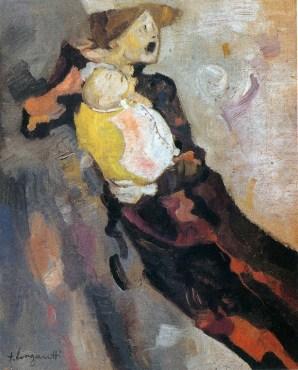 Trento Longaretti, Dramma di una madre, 1976, olio su tela, 60x50 cm