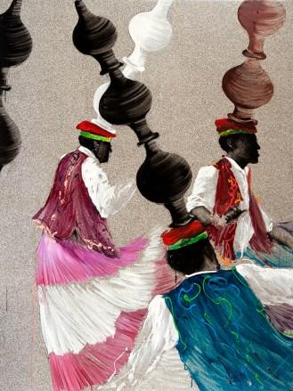 Aldo Mondino, La danse des Jares, 1997, olio su linoleum, 240x140 cm