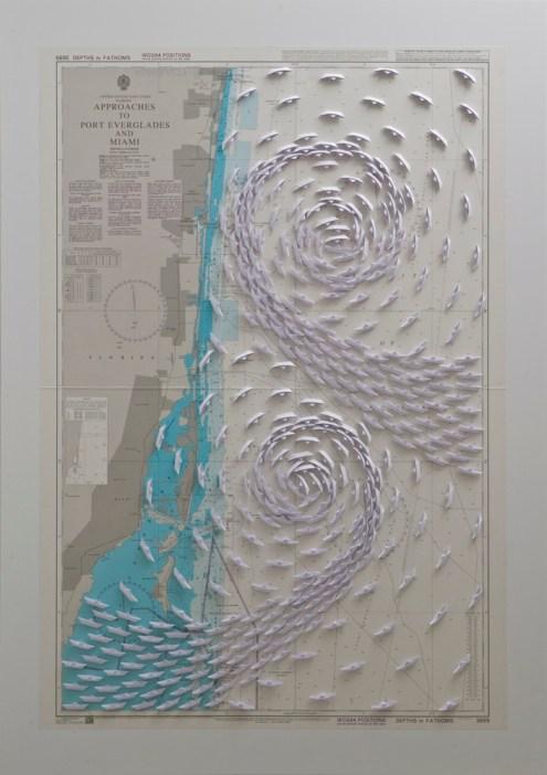 Riccardo Gusmaroli, Miami, 2014, barche di carta su carta nautica, 103x71cm Courtesy Galleria Glauco Cavaciuti