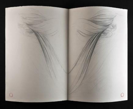 Omar Galliani, Il quaderno delle acque, 1978-79, serie di 15 disegni siamesi, matita e carboncino su carta, 85x120 cm © Luca Trascinelli