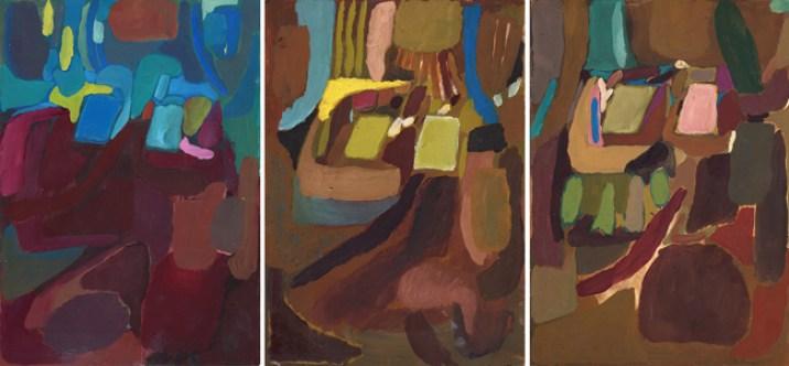 Sulltane Tusha Paesaggi Sincronici, 2015, olio su carta, 21 x 63 cm Courtesy dell'artista
