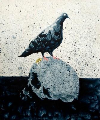 Nicola Villa, Pigeon vanitas, 2010, tecnica mista su tela, 120x100 cm