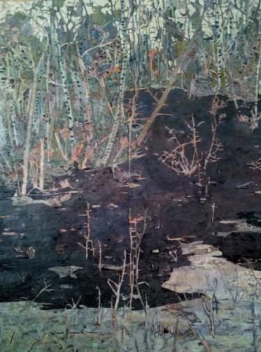 Agnese Skujina, Senza titolo, 2015, tecnica mista su carta, 140x100 cm