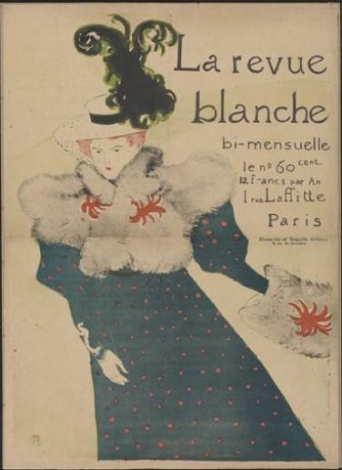 Henri de Toulouse-Lautrec, La Revue blanche, 1895, lithograph in five colours on wove paper, 130.5x94 cm, Galleria Nazionale, Budapest