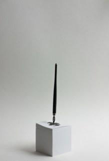 Ayumi Kudo, Gravità di parola, 2015, penna, inchiostro, carta e chiodo, 7.5x7.5x26.5 cm Courtesy Galleria Paraventi Giapponesi - Galleria Nobili, Milano