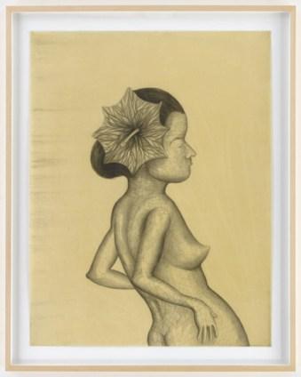 Sandra Vasquez de la Horra, La Contemplante, 2014, graphite on paper, wax, 78.5x60.5 cm
