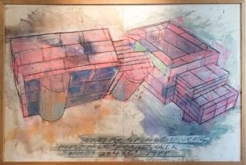 Dennis Oppenheim, Study for Sponge Trucks 1988 Matita, pastello e pittura ad olio su carta, 150x230 cm Courtesy Montrasio Arte, Milano